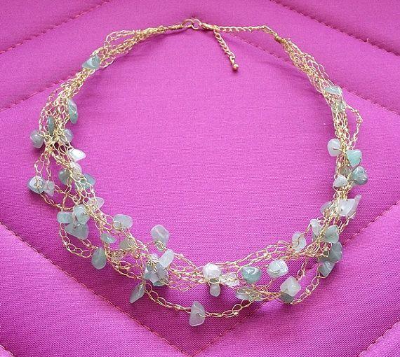 Items similar to Green aventurine crochet wire necklace, wire crochet jewelry, gemstone necklace, crochet wire jewelry on Etsy