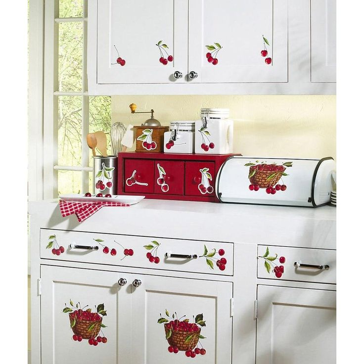 amazon com retro cherry decor removable wall decals on wall stickers for kitchen id=53168