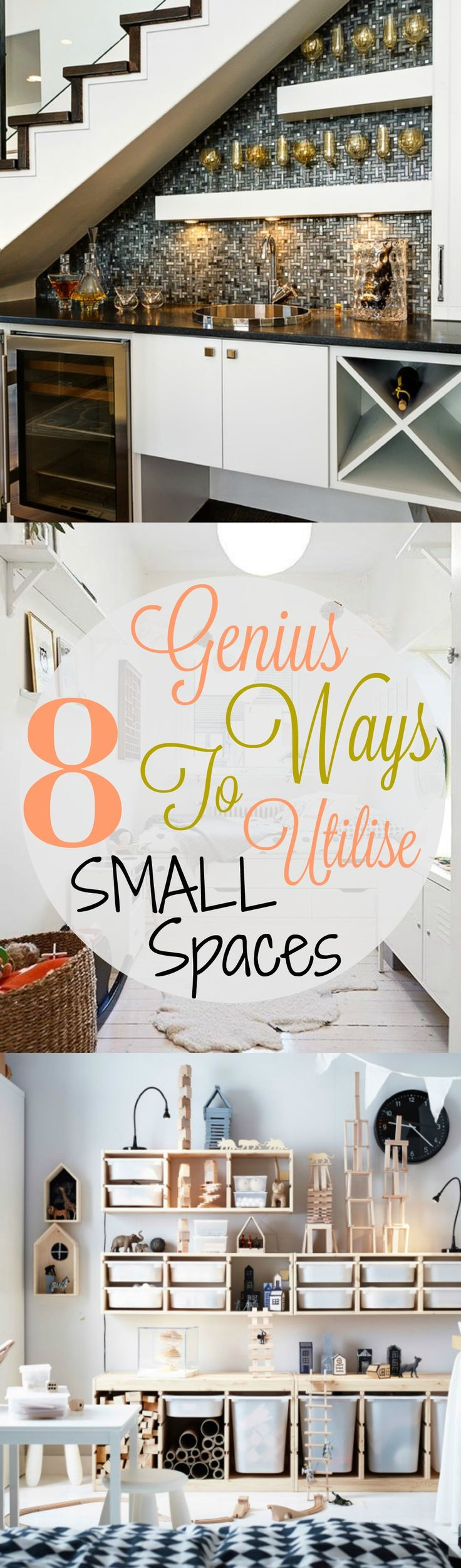 8 Genius Ways To Utilize Small Spaces. These are great tips on how to make your small apartment or studio into a spacious, fabulous living space.