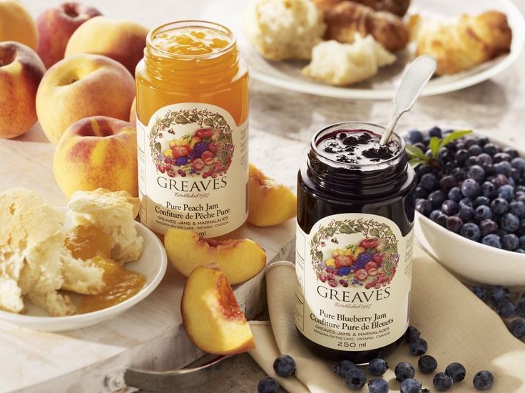 Delicious Greaves Jams include Peach and Blueberry Flavours