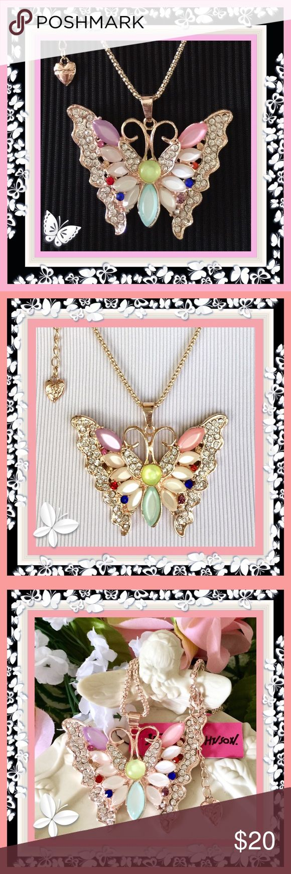 "🌺🌴🌺 BETSEY JOHNSON BUTTERFLY PENDANT 🌺🌴🌺 🌺🌴🌺 On the wings of a butterfly should be the name of this pendant.  The colors are like freshly picked flowers from an English garden.  The exquisite pearl like pastel oval inserts amidst multiple clear and deeper shades of rhinestones off set the lighter shades in this winged beauty.  This could be the perfect gift 🎁 for that perfect someone.  The pendant is:  2 1/2"" wide x 2"" high.  The rolled gold chain is:  28"" with a 2"" extension…"