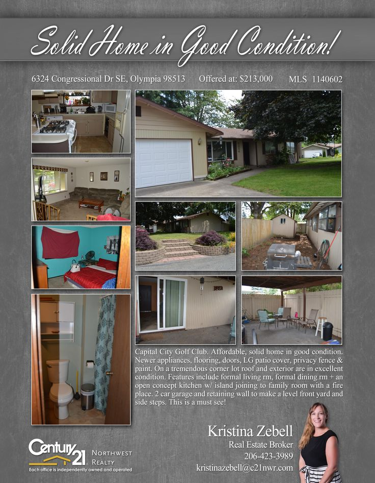 PRICE CHANGE  This is a must see!!! Capital City Golf Club. Affordable, solid home in good condition. Newer appliances, flooring, doors, LG patio cover, privacy fence & paint.  Contact Kristina Zebell @ (206) 423-3989  MLS # 1140602  http://6324congressionaldrse.c21.com/