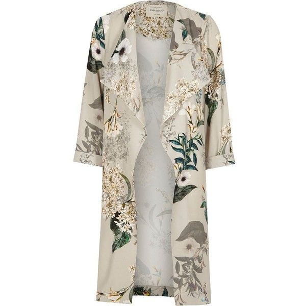 River Island Grey floral print duster coat (7.325 RUB) ❤ liked on Polyvore featuring outerwear, coats, jackets, coats / jackets, grey, women, collar coat, grey coat, long sleeve coat and river island