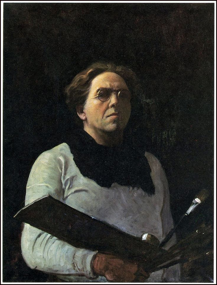 """Self Portrait with Palette"" 1909 by N.C. Wyeth -  N.C. (Newell Convers) Wyeth [American Golden Age Illustrator, 1882-1945]  -  Patriarch of three generations of Wyeth-Hurd artists, including son Andrew Wyeth and grandson Jamie Wyeth  -  Oil on canvas"