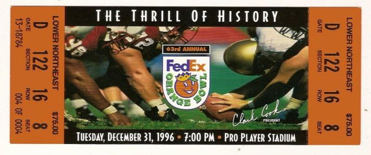 1997 ORANGE BOWL FULL TICKET NEBRASKA VIRGINIA TECH.....if you like this you can find many more college bowl game tickets for sale at.....www.everythingcollectibles.biz