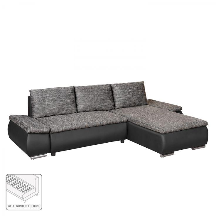 Hoekbank Laza - geweven stof/kunstleer - Longchair (vooraanzicht rechts) - Zwart/grijs