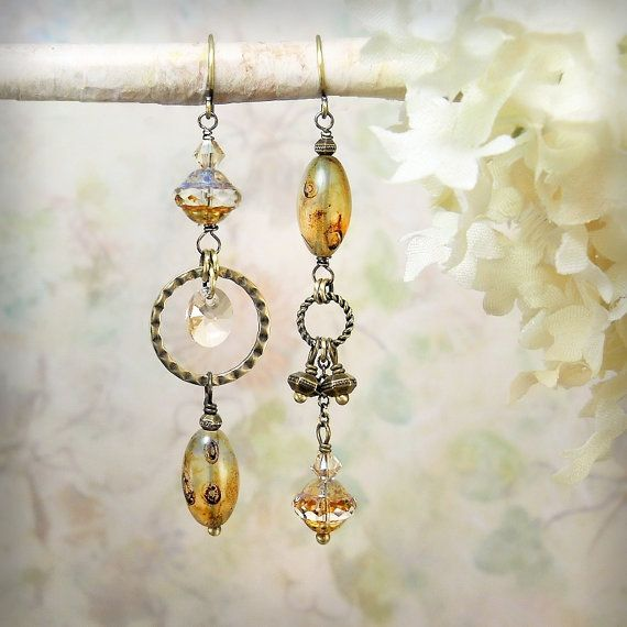 Burnt Sugar Earrings - Amber Champagne Gold Brown Czech Picasso Glass Earthy Rustic Neutral Beach Jewelry Boho Mismatch Chandelier Earrings by MiaMontgomery at Etsy