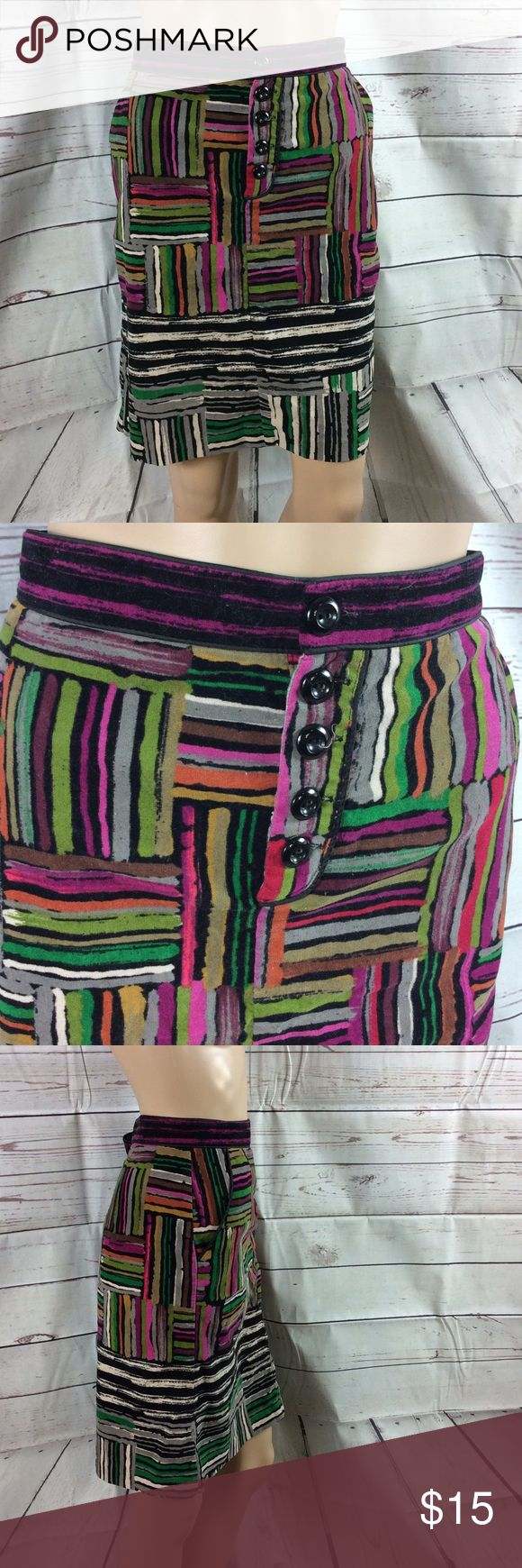 Odille By anthropologie Velvet skirt 12 Odille by anthropologie Velvet skirt Checked stripe detail Multicolored Button close detail Kick pleat in back Two side pockets Size 12 #Anthropologie#OdIlle#Velvet #ButtonDetail #Stripe/Check #Size12#Multicolored Anthropologie Skirts