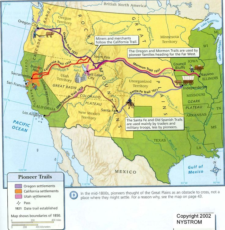 This map shows the routes of the Pioneer Trails by which the American west was settled in the 1800s.
