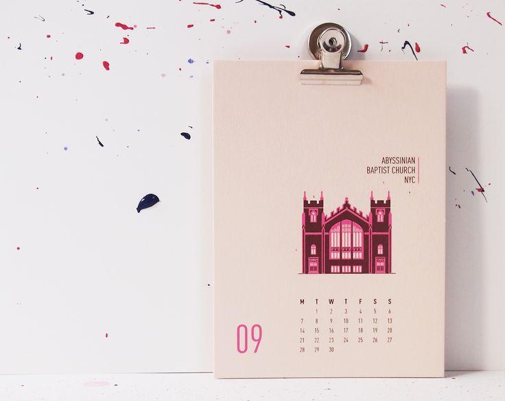 Buildings Of New York City - Abyssinian Baptist Church, mmmMAR Illustrated and hand screened by Marieken Hensen, Calendar 2015