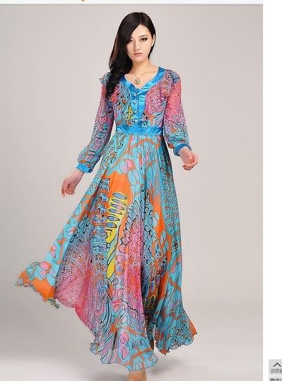 Summer Maxi Dresses Bohemia Beach Dress Ladies Printed