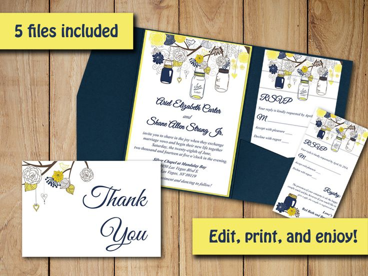 Mason Jar Wedding Pocketfold Invitation Template - Dark Navy Yellow Rustic Wedding Download RSVP Response Card Invitation Insert Template by PaintTheDayDesigns on Etsy