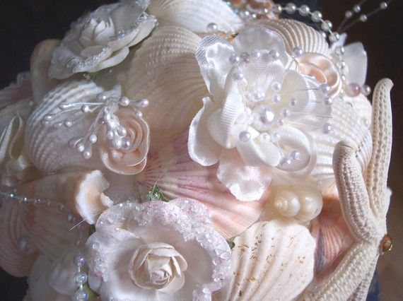 Beach Wedding Bouquet Seashells with a vintage touch by artseero, $150.00