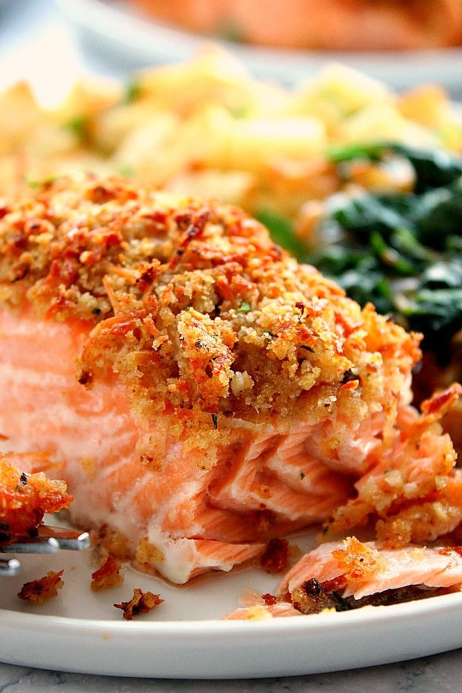 Garlic Parmesan Crusted Salmon Recipe Quick And Easy Salmon With Crunchy Garlic Butter Parmes Salmon Recipes Oven Crusted Salmon Recipes Baked Salmon Recipes