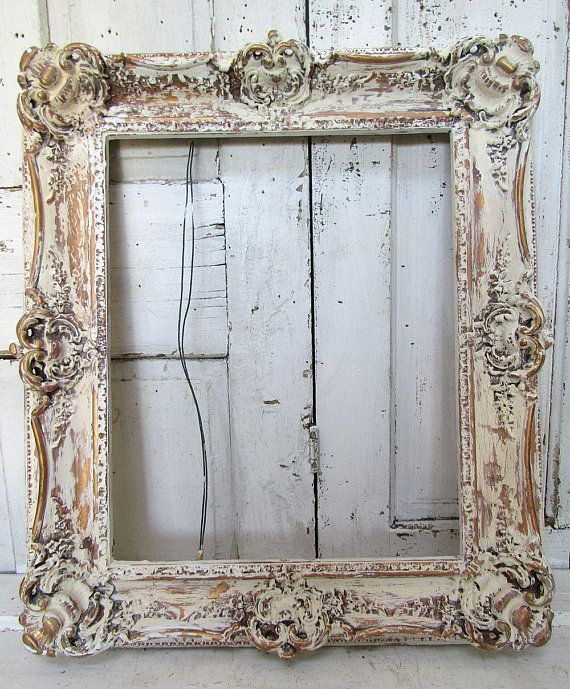 Ivory Gold Lg Painted Picture Frame Wall Hanging Distressed Cream Off White Ornate Wooden Shabby French Chic Home Decor Anita Spero Design Frames On Wall Painted Picture Frames Painting Mirror Frames