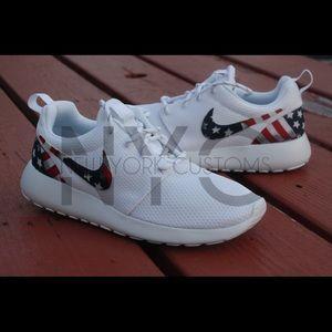 American Flag Nike Roshe One Triple White Custom