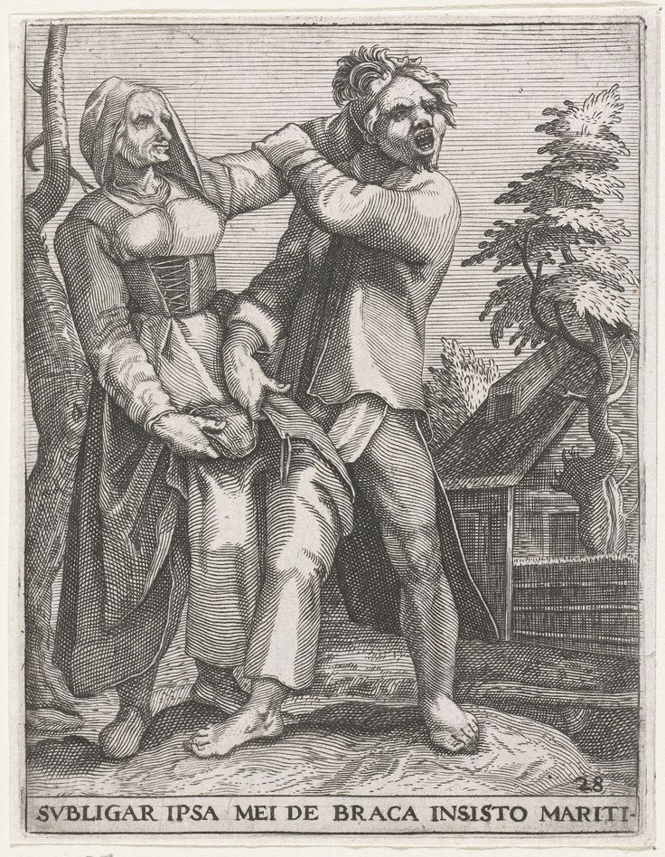 Johann Theodor de Bry | Strijd om de broek, Johann Theodor de Bry, Gillis van Breen, Karel van Mander, 1596 | Strijd om de broek: en man en een vrouw in gevecht met elkaar. De vrouw trekt de man met een hand aan de haren, met de andere hand aan zijn broek die al half uit is. De vrouw wil hier duidelijk 'de broek aan hebben', dat wil zeggen: de baas zijn in huis.