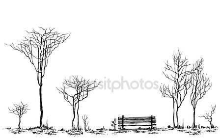 Stylizowane parku wystrój, Ława i drzew, rysunek — Ilustracja stockowa #110770818