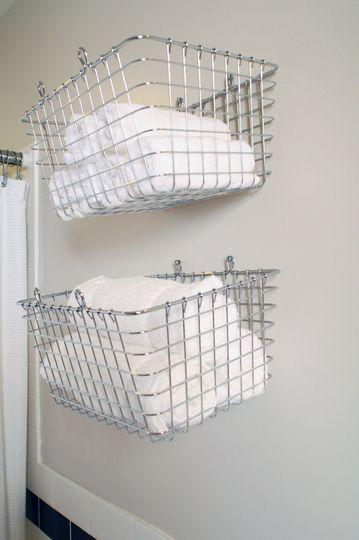 82 best creative storage ideas images on pinterest for for Bathroom basket storage ideas