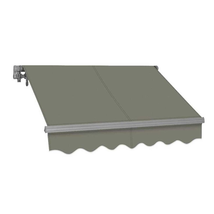 Advaning 12 Ft Sg Series Manual Retractable Patio Awning 118 In Projection In Gray Patio Flooring Polycarbonate Roof Panels Patio