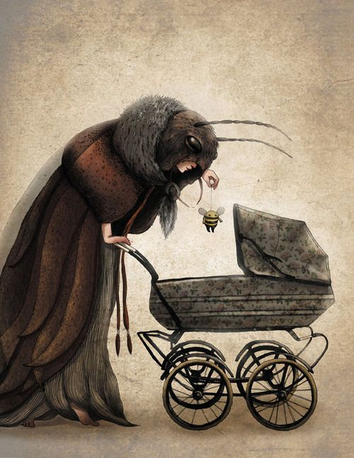 Emilia Dziubak. Love this surreal painting of what lookslike a moth mother, pushing a pram with a bee toy