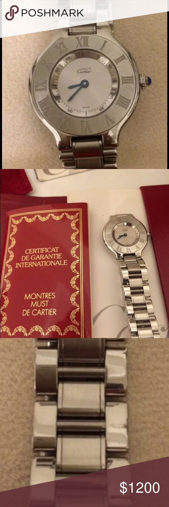 Must de 21 Cartier Stainless steel watch Beautiful Cartier watch, with cleaner, extra Cartier suede pouch, all original papers and box. Cartier Accessories Watches