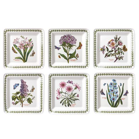 portmeirion botanic garden square plate set 21cm 6pce