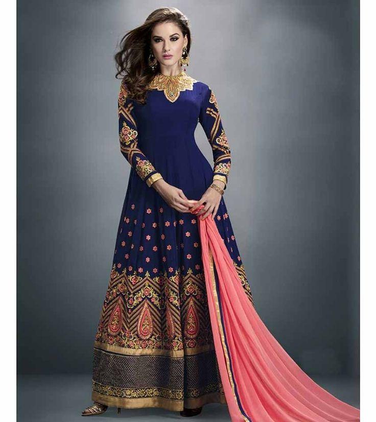 Naksh - Elegent Navy Blue and Peach Georgette Embroidered Designer Anarkali Suit With Chiffon Dupatta