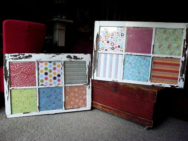 I made these from old windows and scrapbook paper for a quilt effect - Megan Walker