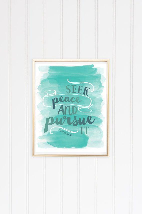 Seek Peace Print Psalm 34:14 8x10 by WallflowerPaperie on Etsy