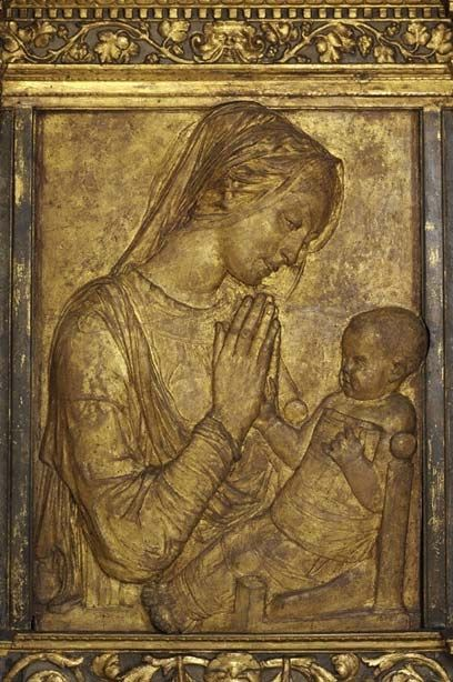 'Madonna and Child' by Donatello circa 1455 in gilded terracotta relief panel
