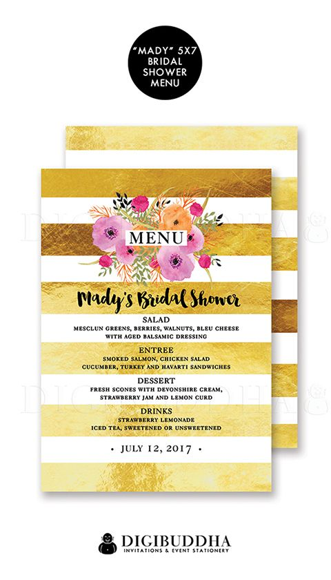 Gold stripe bridal shower menus with a glam gold foil look stripe modern stripe style, and added boho chic painterly watercolor floral details.  Available in wedding menus, baby shower menus or even rehearsal dinner menus.  Only at digibuddha.com