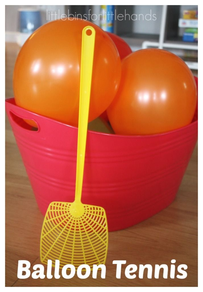 Simple balloon tennis game for a quick energy buster. Balloon tennis makes a great indoor gross motor play idea. Balloons are always a hit with kids.