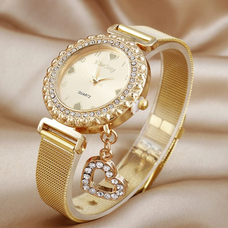 KIMSENG Luxury Created Diamond Gold Watches Ladies Fashion Heart Pendant Stainless Steel Quartz Watch Reloj Mujer Dorado Casual