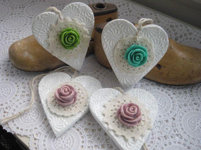 Vintage White Hearts