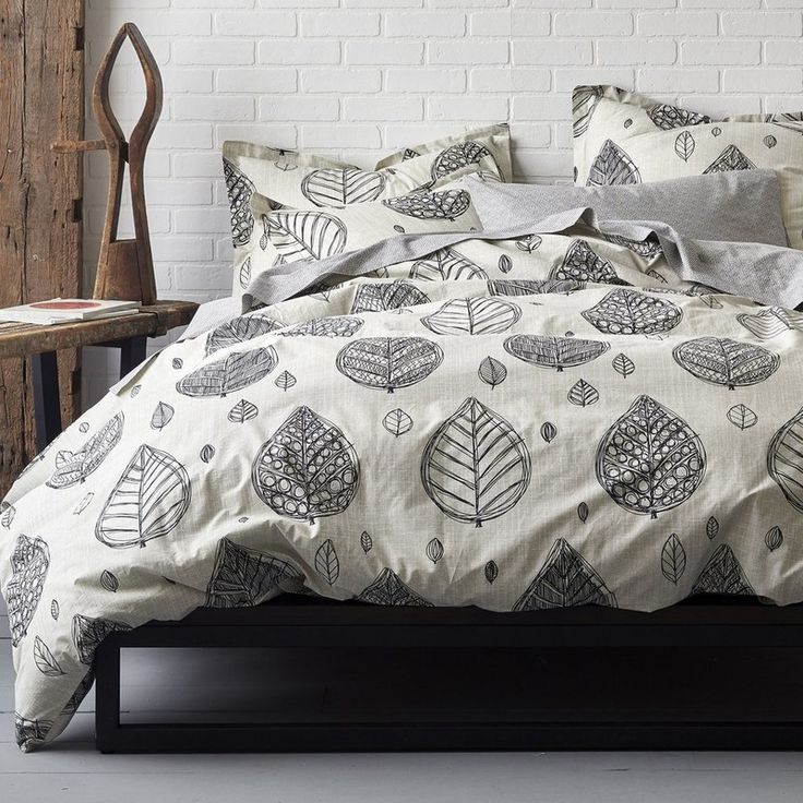domino By The Company Store® Artist Leaf Organic Percale Bedding - Our Artist Leaf Organic Cotton Bedding presents a modern take on classic Indian woodblock prints. This contemporary duvet cover and sham display sketched birch leaves on a textural field in graphic black.