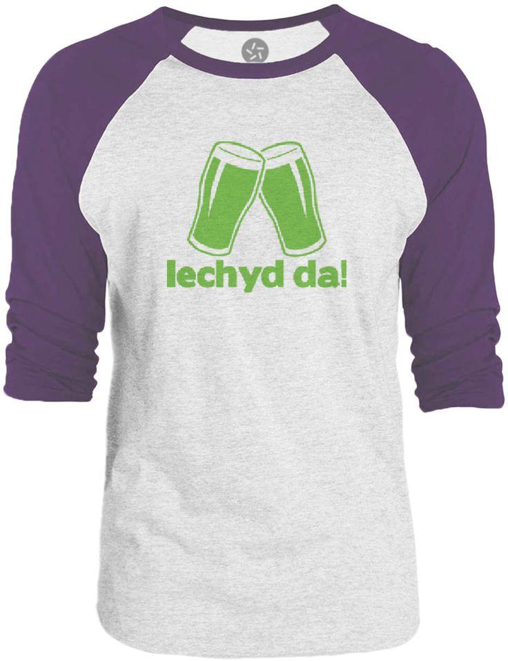 Big Texas Cheers in Welsh (Green) 3/4-Sleeve Raglan Baseball T-Shirt
