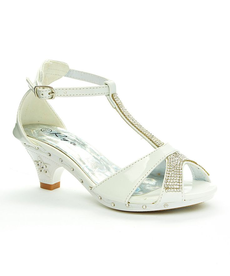 Look at this Rya White Rhinestone T-Strap Sandal on #zulily today!