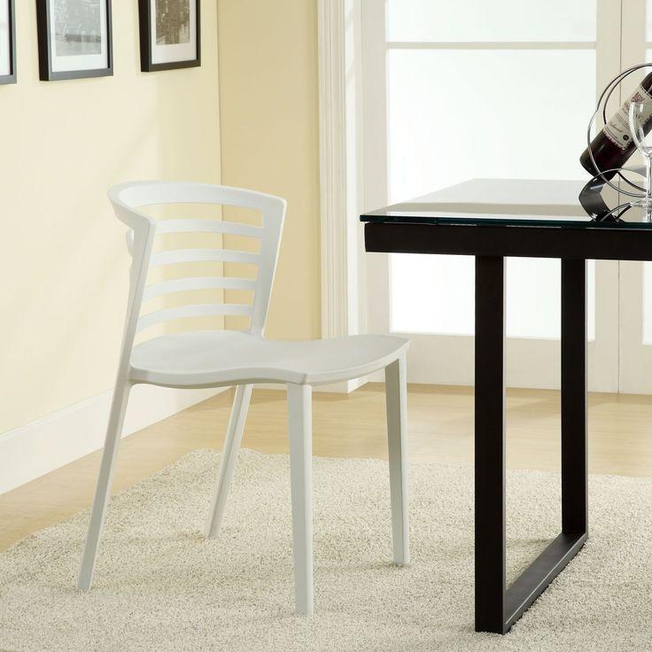 Modway Curvy White Plastic Chair (White)