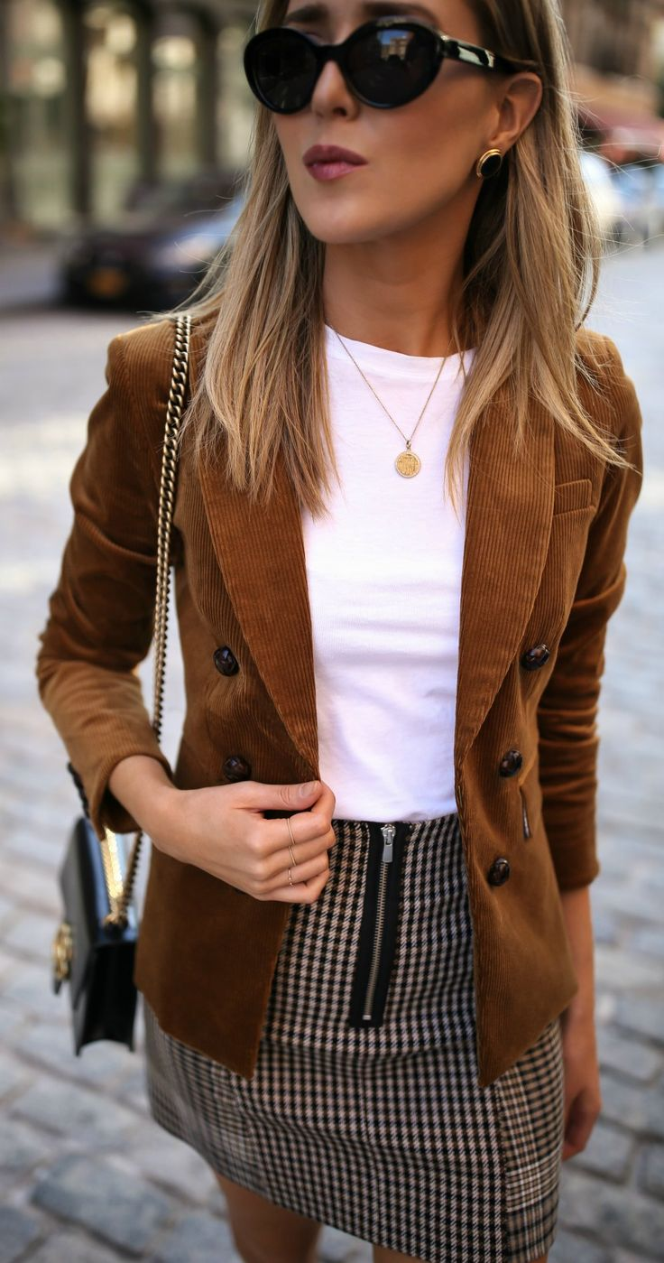 Trend Memo Day 5: Corduroy // Corduroy jacket, white short sleeve t-shirt, checked mini skirt, leopard print pumps {Veronica Beard, J Brand, Maje, trend memo, fashion week, fall fashion}