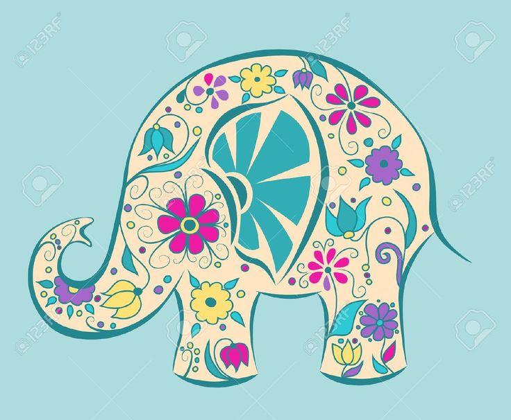 siluetas de elefantes: Elefante azul pintado de flores. Ilustración vectorial de dibujos animados.