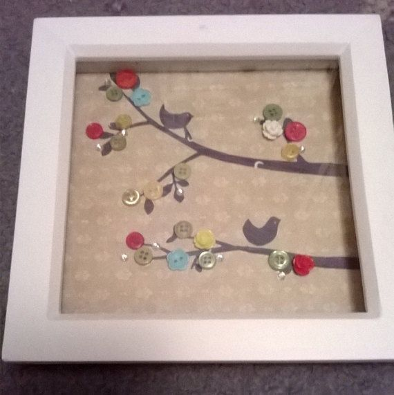 Button Art  Bird Branch by GingerLimeCranswick on Etsy