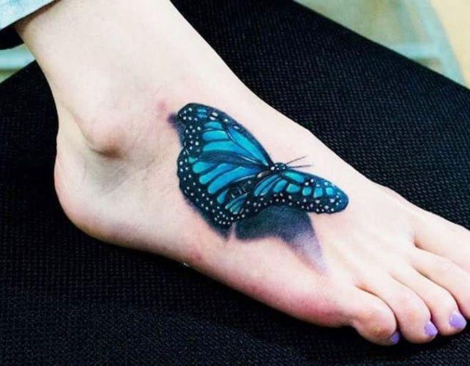 Pretty 3D Butterfly http://tattooideas247.com/3d-butterfly-foot/