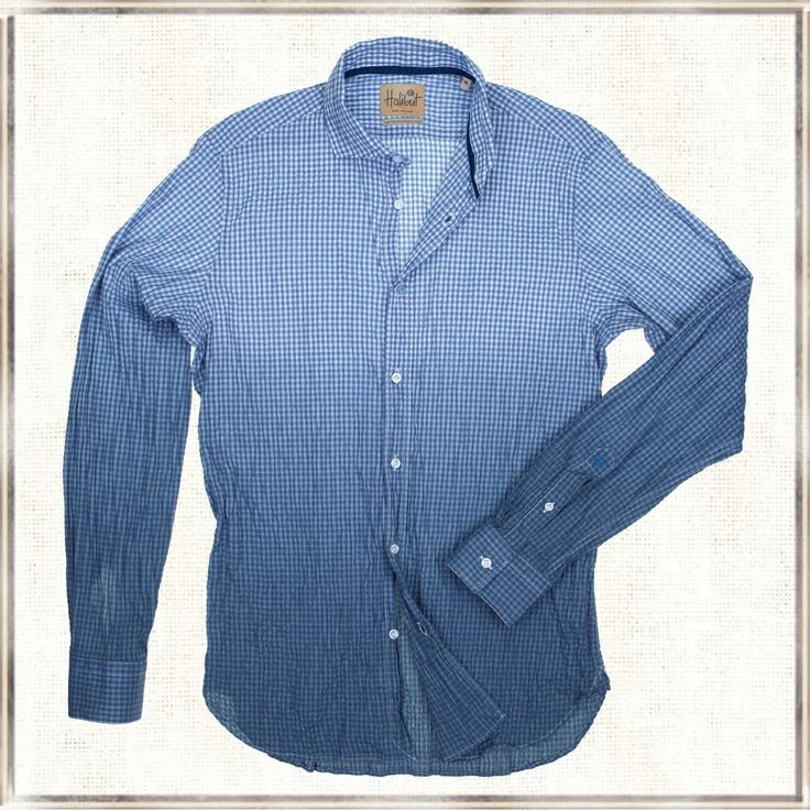 Halibut Shirt - Smart Square Blue - Dip Dye Shirt by Halibut
