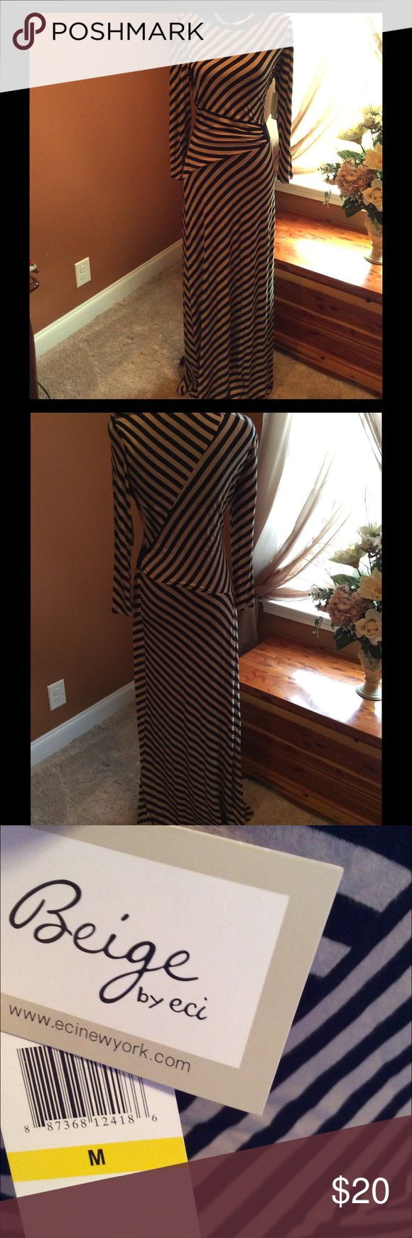 """NWT Long Sleeved Maxi Dress NWT Striped maxi by ECI. This dress is made with elastic/shirring on the side to accent you curves! The lines are long and lean and this dress gives you that perfect illusion! I'm 5'6"""" and the dress still hit the floor at my feet!!! This is soft and stretchy and drapes your body beautifully. Perfect for the cool days or evenings..or those offices that always have the air running yr around! 😉 ECI Dresses Long Sleeve"""