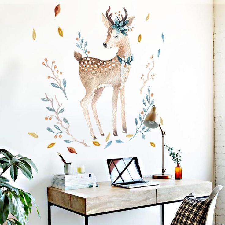 Wandtattoo Reh Kitz Wandaufkleber für Wohnzimmer Deko