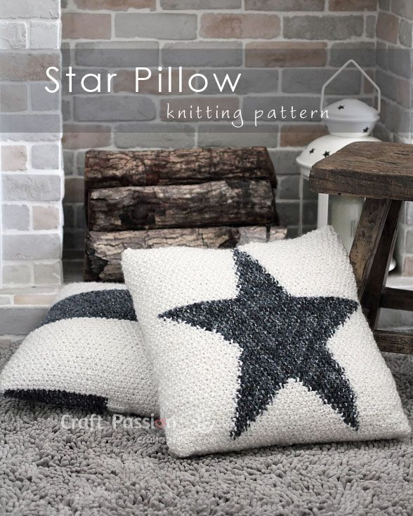 Free knitting pattern and tutorial on how to knit Star Pillow by using colorwork. The texture of the pillow is seed stitch. The pillow is button-fastened.
