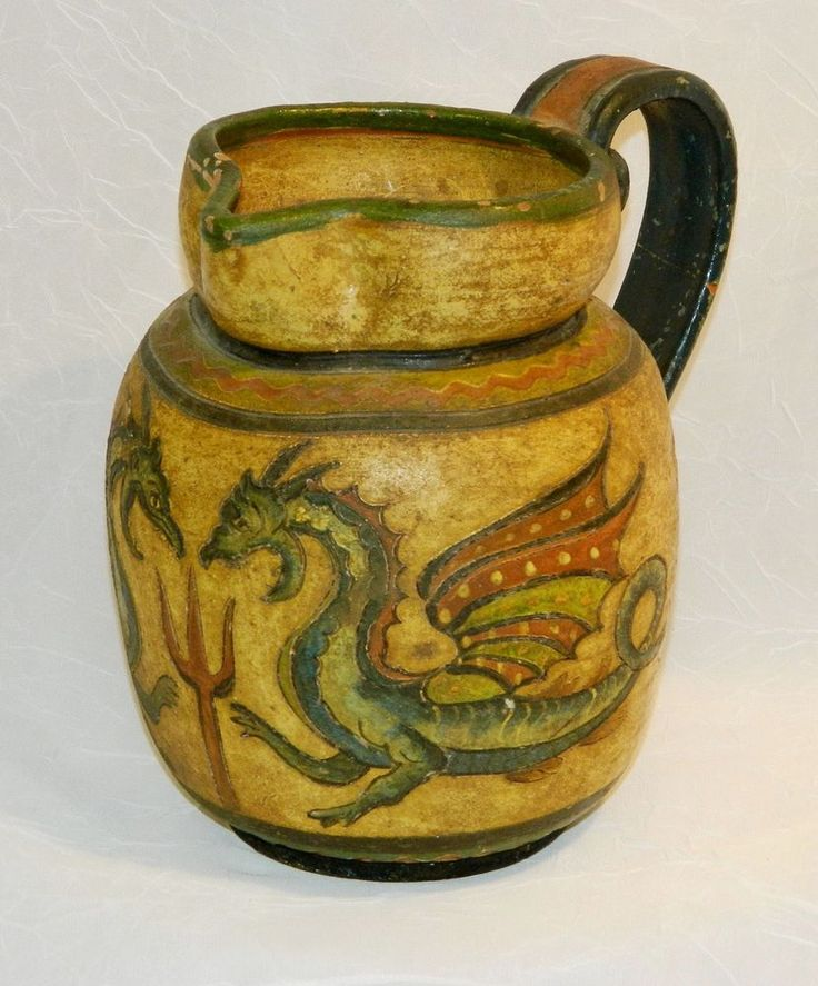 Antique Majolica Sgraffito Art Pottery Pitcher,Dragons, Montopoli Italia, Signed