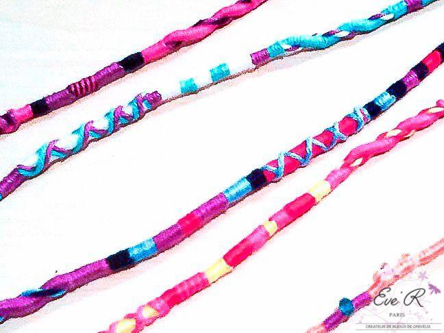 Atebas - tresses en coton ou indienne - Couleurs au choix -cheveux longs 30 cm : Accessoires coiffure par eve-r-createur-bijoux-de-cheveux