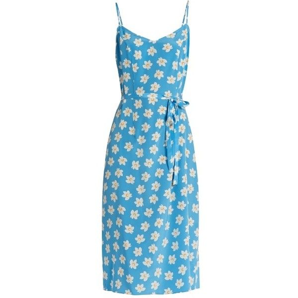 HVN Lily Falling Floral-print silk slip dress (25.290 RUB) ❤ liked on Polyvore featuring dresses, blue print, print dresses, lily dress, slip dress, pattern dress and blue print dress